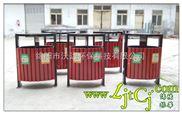 钢木分类垃圾桶 振华户外钢木垃圾箱