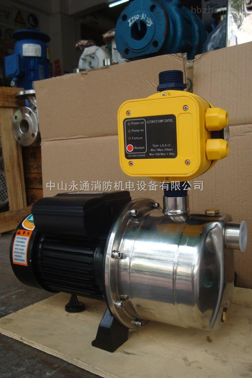 带水流开关自动控制自吸清水泵说明: 工作原理: 带水流开关自动控制自吸清水泵、是由BJZ不锈钢增压泵、压力罐、压力开关和止加阀等4部分级成。压力开关与泵连接,通过设定压力开关的工作范围,当供水系统压力高于或低于预设压力,压力开关自动断开或闭合,从而实现电泵自动供水的功能。 用途:工业清洗、别墅供水、锅炉供水、楼层增压供水。 带水流开关自动控制自吸清水泵产品具体型号性能参数如下:
