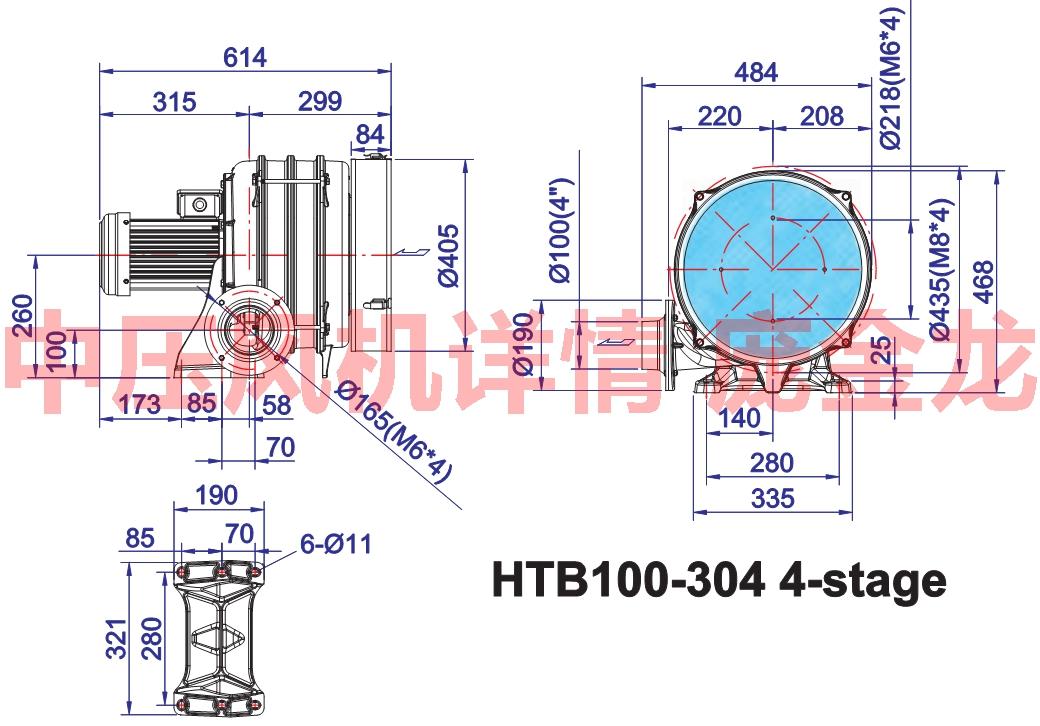 中压透浦式鼓风机htb100-304