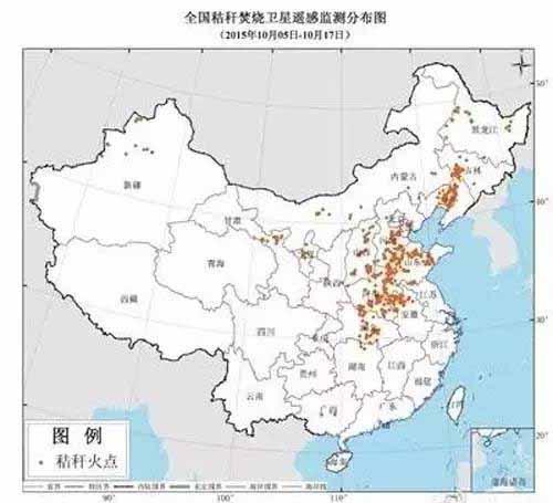 全国秸秆焚烧卫星遥感监测分布图