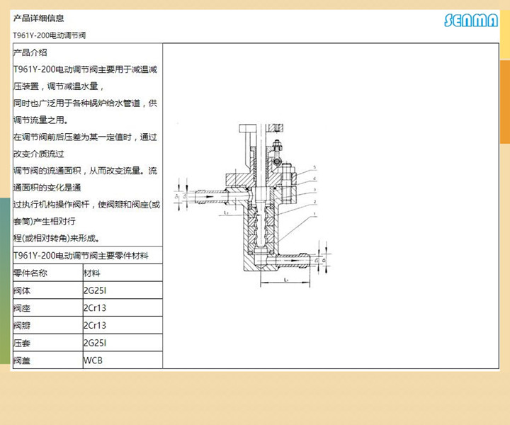 电动给水调节阀t961y图片